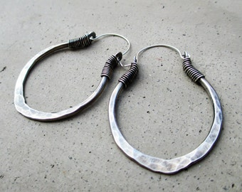 Lotus Petal Hoop Earrings in Sterling Silver, Medium Size, Hip, Ethnic, Yoga Inspired, Metalsmithed Design