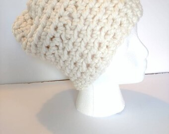 Beanie beige Slouchy Crochet Hat Celebrity style fall winter fashion boho hippie hat made with soft yarn off white womens hat