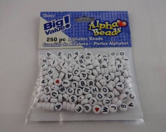 Small alphabet beads to make necklaces, bracelets and ankle bracelets.  Set of 250 pieces with drilled holes ready to string.