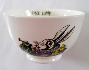 English Alice in wonderland 'one lump or two?' Mrs Moore's fine china sugar bowl Mad Hatters tea party