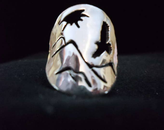 eagle ring with mountains quarter size