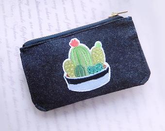 Trousse de poche Cactus à broder, porte-clés, étui à clés, pochette multi-usage, pochette d'argent, Texte de broderie à la main