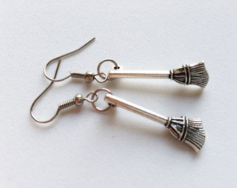 BROOM Earrings Silver Broom Charm Witch Earrings Witch Jewelry Halloween Jewelry Halloween Gift Halloween Earrings Cleaning Tools Earrings
