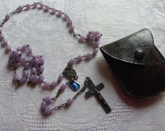 Rosary Mauve  Opaline Glass, French Circa 1940's