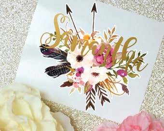 Watercolor Flowers and Arrows Monogram Decal, Flowers and Feathers, Tumbler Decal, Printed Decal, Floral Decal