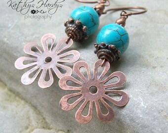 Flower Child - Copper Flowers Turquoise Earthy Hippie Copper Findings Earth Day Woodland Wedding  Etsy Earrings