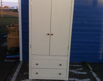Chunky Rustic Reclaimed Timber Wardrobe with 2 drawers painted