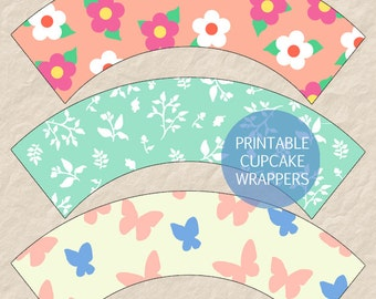 Printable Spring Pattern Cupcake Wrappers, Spring Theme Cupcake Wrappers, Spring Butterfly Cupcake Wrappers, Mother's Day Cupcake Wrappers