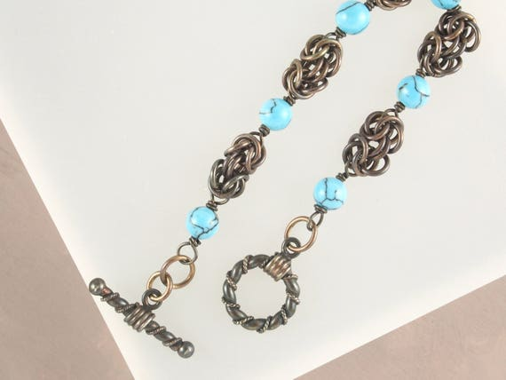 Petite Turquoise Chainmail Byzantine Bracelet