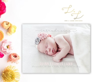 Simple Photo Birth Announcement - Printable or Printed - 5x7 Birth Announcement - Photo Card