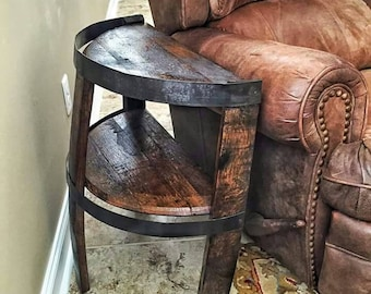 Bourbon Whiskey Barrel Stave Side Table With Bottom Barrel Head Shelf Dark  Stain