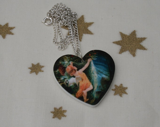 Christmas Necklace, Vintage Angel Illustration Necklace, Heart Necklace