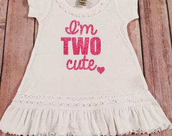 Second Birthday Dress Pink Sparkle Birthday Shirt Baby Girl 2nd Birthday Two Shirt Girl Second Birthday Shirt Cake Smash 2nd Birthday Outfit