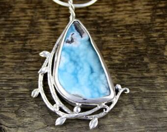 Hemimorphite Drusy, rare gemstone, woodland dance pendant, forest jewellery, organic pendant, healing crystal, boho, rustic, woodland ring