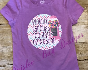 Blowin' Through 100 Days Shirt, 100 Days of School Shirt, 100th Day of School Shirt, Girls 100th Day of School Shirt, 100th Day of School