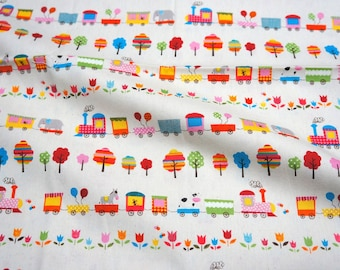 animal trains japanese fabric fat quarter 19.6 by 21 inches  nc12