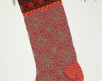 Hand-knit Christmas Stocking, Damask Rose