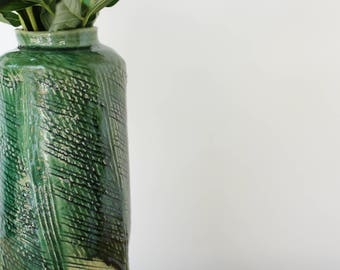 Deep green vase - handmade, pottery vase, ceramic vase, wedding gift, made for order, stonware vase, flower vase, tableware, pottery.