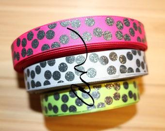 "7/8"" grosgrain ribbon, 3 yards, Black Glitter Silly Dots, USDR"