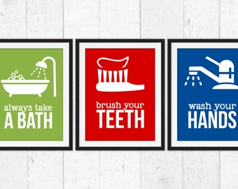 Kids Bathroom Art Prints, Kids Bathroom Wall Art, Kids Bathroom Art, Kids Bathroom Rules, Bath Art, Bathroom decor, wash brush bath