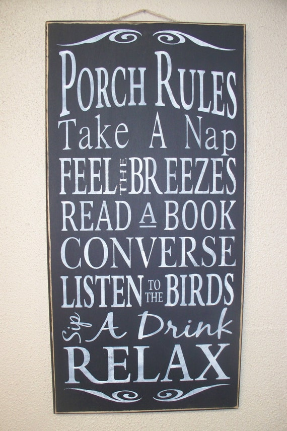 PORCH RULES -  Wooden sign - hand painted - black chalk paint - large - subway art - typography - rustic -