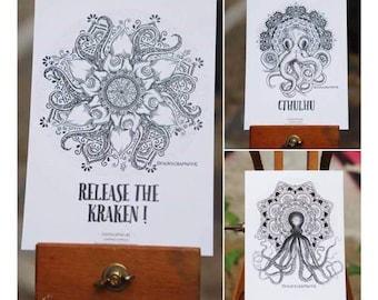Lot 3 Cartes Postales Octopus & Mandalas