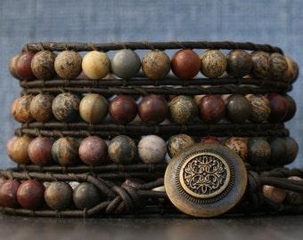 wild horse jasper on black brown leather - beaded leather wrap bracelet - grey gray gold dark brown