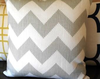 Gray chevron decorative throw pillow, Jonathan Adler fabric