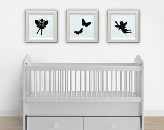 Fairy Print Set, Fairy Nursery Art, Fairy Playroom Prints, Fairy Painting, Little Girl Decor, Girl Nursery Decor, Girl Room Decor, Baby Art
