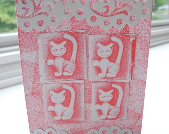 1.00 Shipping One of a Kind Handcrafted Greeting Card with handmade Cat stamp