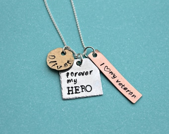 Hero Necklace I Love My Veteran Necklace Personalized Necklace Veteran's Wife Jewelry