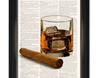 Cigar Whiskey dictionary art print. Home bar wall decor- Whiskey on the rocks with classic stogie on vintage dictionary paper 8x10 inches
