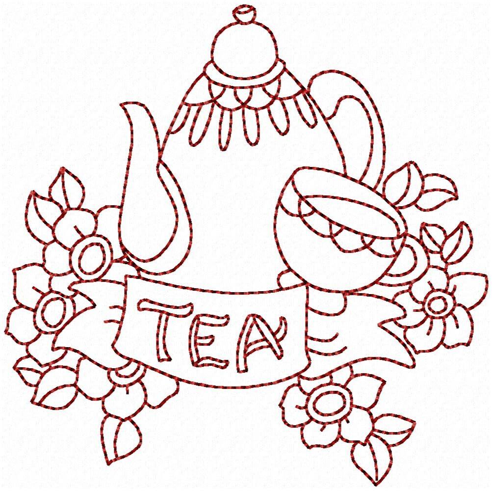 Redwork Friendship Tea Machine Embroidery Patterns / Designs - 4x4 ...