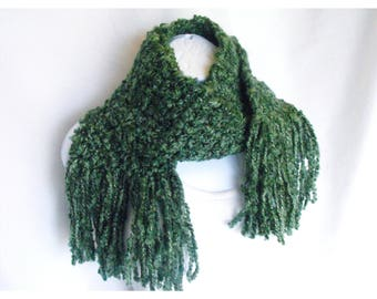 Green Scarf, Warm Winter Scarf, Fringed Scarf, Crochet Scarf, Perfect for St. Patricks Day