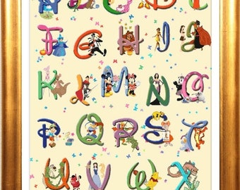 Alphabet Disney Cross Stitch Alphabet Disney Pattern abc pattern needlepoint - entire pattern 425 x 607 stitches - L1266