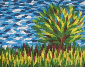 """Tree in Sunny Field 7"""" x 5"""" PRINT"""