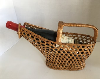 Vintage Wine Bottle Carrier Wicker Basket ca. 1950-60s Vintage French Woven Wine Basket Vannerie from France