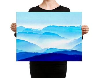 Mountain vista digital watercolor art canvas