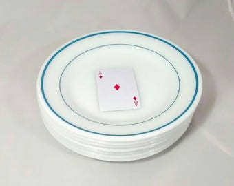 Pyrex Tableware seven (7) Blue Band salad plates