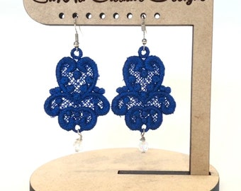 Royal Blue Embroidered Earrings