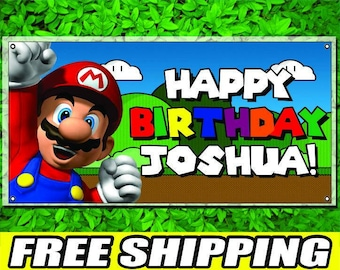 Super Mario Printed Banner Personalized Custom Name Vinyl Banner Happy Birthday Banner