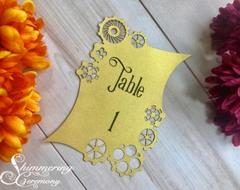 Steampunk Laser Cut Table Numbers with Gears for Fantasy wedding with easels included customizable