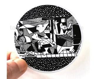 Picasso Guernica Vinyl decal, Picasso Sticker, Decal Art, vinyldecals, artpicasso, polkadots, blackandwhite, vinyl decal, vinyl sticker art