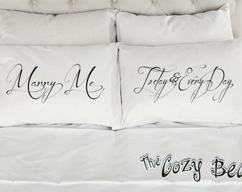 Marry Me Today And Every Day, Couples Printed Pillowcases (Set of 2) Wedding, Anniversary, Bridal Shower Gift