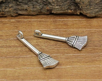 35pcs Antique Silver Broom Charms pendants 2 Sided 27x9mm C1694-Y