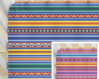 Bright Peruvian Stripe Crib Bedding. Blue or Pink. Organic Sheet / Pad Cover / DUVET / Pillow Cover. Toddler Bedding. Made-To-Order