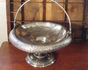 Antique Silver Brides Basket Compote Hartford Silver Co Silverplated 1880s Ornate Floral