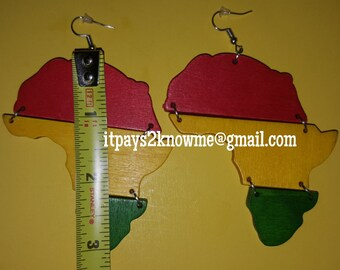 Red, yellow,  green Africa shaped wooden earrings
