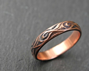 textured copper ring, medieval wedding ring, copper wedding band viking, commitment ring copper, engagement ring copper anniversary gift