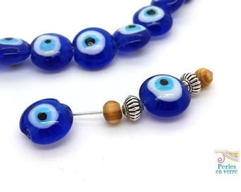 2 large eye glass beads Greek door-happy blue evil eye the 8x15mm (pv729)